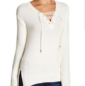 Romeo and Juliet Coutoure Ribbed Knit Lace Up Top